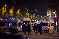 20/04/2017, Paris, France - Terror Attack Champs Elysee, police officer and suspect shot dead on Champs Elysees in attack claimed by Islamic State, one tourist woman injured, another french police officer badly injured, Paris, France # FUSILLADE CONTRE DES POLICIERS SUR LES CHAMPS-ELYSEES