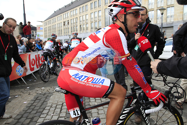 "Joaquim ""Purito"" Rodriguez (ESP) Team Katusha at sign on before the start of the 98th edition of Liege-Bastogne-Liege outside the Palais des Princes-Eveques, running 257.5km from Liege to Ans, Belgium. 22nd April 2012.  <br /> (Photo by Eoin Clarke/NEWSFILE)."