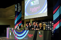 England Rugby 2015 Chief Executive Debbie Jevans (2nd left) during the Rugby World Cup 2015 Venues and Match Schedule Launch at Twickenham Stadium on Thursday 2nd May 2013 (Photo by Rob Munro)