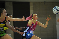 Steel goalshoot George Fisher receives a pass during the ANZ Premiership netball match between Central Pulse and Southern Steel at Te Rauparaha Arena in Porirua, New Zealand on Sunday, 16 May 2021. Photo: Dave Lintott / lintottphoto.co.nz