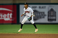 Jupiter Hammerheads shortstop Nasim Nunez (2) during a game against the Palm Beach Cardinals on May 11, 2021 at Roger Dean Chevrolet Stadium in Jupiter, Florida.  (Mike Janes/Four Seam Images)