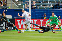 CARSON, CA - APRIL 25: Andrew Gutman #5 of the New York Red Bulls scores a goal during a game between New York Red Bulls and Los Angeles Galaxy at Dignity Health Sports Park on April 25, 2021 in Carson, California.