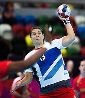 25 JUL 2012 - LONDON, GBR - Yvonne Leuthold (GBR) of Great Britain passes during the women's London 2012 Olympic Games warm up handball match against Spain at The Copper Box in the Olympic Park, in Stratford, London, Great Britain .(PHOTO (C) 2012 NIGEL FARROW)