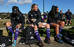 Aldora Inutu, Kelly Brazier and Carla Hohepa. Black Ferns Rugby training prior to the teams departure for the Women's World Cup, Orakei Domain, Auckland, New Zealand. Photo: Simon Watts / www.bwmedia.co.nz