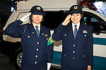 """Police women pose for the cameras during the Niconico Douga fan event at Makuhari Messe International Exhibition Hall on April 25, 2015, Chiba, Japan. The event includes special attractions such as J-pop concerts, Sumo and Pro Wrestling matches, cosplay and manga and various robot performances and is broadcast live on via the video-sharing site. Niconico Douga (in English """"Smiley, Smiley Video"""") is one of Japan's biggest video community sites where users can upload, view, share videos and write comments directly in real time, creating a sense of a shared watching. According to the organizers more than 200,000 viewers for two days will see the event by internet. The popular event is held in all 11 halls of the huge Makuhari Messe exhibition center from April 25 to 26. (Photo by Rodrigo Reyes Marin/AFLO)"""
