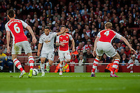 LONDON, ENGLAND - MAY 11 Angel Rangel of Swansea City  in action during  to the Premier League match between Arsenal and Swansea City at Emirates Stadium on May 11, 2015 in London, England.  (Photo by Athena Pictures/Getty Images)