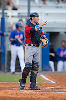 Elizabethton Twins catcher A.J. Murray (22) on defense against the Kingsport Mets at Hunter Wright Stadium on July 8, 2015 in Kingsport, Tennessee.  The Mets defeated the Twins 8-2. (Brian Westerholt/Four Seam Images)