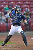 Cedar Rapids Kernels catcher Caleb Hamilton (2) throws to second base during a game against the Wisconsin Timber Rattlers at Veterans Memorial Stadium on April 13, 2017 in Cedar Rapids, Iowa.  The Kernels won 2-1.  (Dennis Hubbard/Four Seam Images)