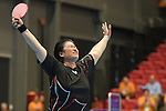 Toronto, ON - Aug 10 2015 -  Stephanie Chan celebrates after winning the Gold Medal in  Women's Singles Class 6-7 Group A in the ATOS Markham Parapan Centre during the Toronto 2015 Parapan American Games  (Photo: Matthew Murnaghan/Canadian Paralympic Committee)