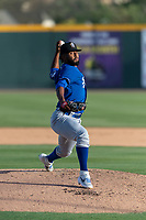 Rancho Cucamonga Quakes starting pitcher Leo Crawford (7) during a California League game against the Visalia Rawhide on April 9, 2019 in Visalia, California. Visalia defeated Rancho Cucamonga 8-5. (Zachary Lucy/Four Seam Images)