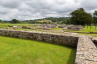 Northumberland, England, UK.  Chesters (Cilurnum) Roman Fort, Looking toward Commander's House.