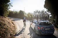 Mathieu Van der Poel (NED/Alpecin-Fenix) had to let go of the lead peloton and drifts between groups from there on<br /> <br /> 14th Strade Bianche 2020<br /> Siena > Siena: 184km (ITALY)<br /> <br /> delayed 2020 (summer!) edition because of the Covid19 pandemic > 1st post-Covid19 World Tour race after all races worldwide were cancelled in march 2020 by the UCI