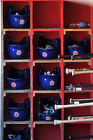 Peoria Chiefs bats and helmets before a game vs. the Kane County Cougars at Elfstrom Stadium in Geneva, Illinois August 15, 2010.   Peoria defeated Kane County 8-4.  Photo By Mike Janes/Four Seam Images