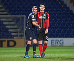 Ross County v St Johnstone....07.04.15   SPFL<br /> Paul Quinn and Brian Graham share a laugh<br /> Picture by Graeme Hart.<br /> Copyright Perthshire Picture Agency<br /> Tel: 01738 623350  Mobile: 07990 594431