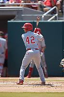 J.T. Jarrett (42) of the North Carolina State Wolfpack at bat against the Northeastern Huskies at Doak Field at Dail Park on June 2, 2018 in Raleigh, North Carolina. The Wolfpack defeated the Huskies 9-2. (Brian Westerholt/Four Seam Images)
