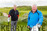 Joe Guerin and Finbarr Mawe from Listowel enjoying a game of golf at the Ballybunion Golf Club on Saturday.
