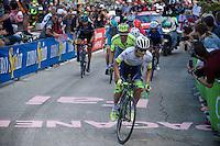 Johan Esteban Chaves (COL/Orica-GreenEDGE) leading the chase group up the very steep Fai Della Paganella climb (15%)<br /> <br /> stage 16: Bressanone/Brixen - Andalo 132km<br /> 99th Giro d'Italia 2016