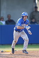 Zach Arnold (35) of the Kentucky Wildcats bats during a game against the UC Santa Barbara Gauchos at Caesar Uyesaka Stadium on March 20, 2015 in Santa Barbara, California. UC Santa Barbara defeated Kentucky, 10-3. (Larry Goren/Four Seam Images)