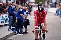 Kasper Asgreen (DEN/Deceuninck - Quick Step) finishing<br /> <br /> Men Elite Individual Time Trial <br /> from Knokke-Heist to Bruges (43.3 km)<br /> <br /> UCI Road World Championships - Flanders Belgium 2021<br /> <br /> ©kramon