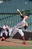 Pitcher Grant Hockin (3) of Damien High School in Pomona, California during the Under Armour All-American Game on August 24, 2013 at Wrigley Field in Chicago, Illinois.  (Mike Janes/Four Seam Images)