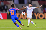 Komail Hasan Alaswad of Bahrain (R) fights for the ball with Pronay Halder of India (L) during the AFC Asian Cup UAE 2019 Group A match between India (IND) and Bahrain (BHR) at Sharjah Stadium on 14 January 2019 in Sharjah, United Arab Emirates. Photo by Marcio Rodrigo Machado / Power Sport Images