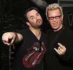 """Alex Brightman and Billy Idol backstage at """"Beetlejuice The Musical"""" on Broadway at the Winter Garden Theatre on July 30, 2019 in New York City."""