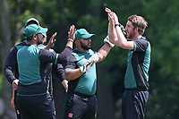 D Carter of Harold Wood celebrates with his team mates after taking the wicket of R Saunders during Hornchurch CC vs Harold Wood CC, Hamro Foundation Essex League Cricket at Harrow Lodge Park on 5th June 2021