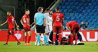 6th August 2020, Basel, Switzerland. UEFA National League football, Switzerland versus Germany; Breel Embolo  of Switzerland lays injured