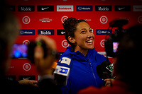 HOUSTON, TX - JANUARY 28: Christen Press #23 of the United States in the mixed-zone during a game between Haiti and USWNT at BBVA Stadium on January 28, 2020 in Houston, Texas.