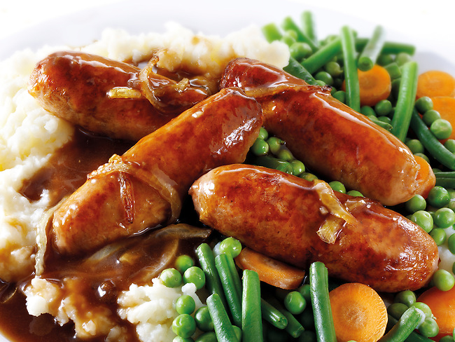 Traditional British Sausage & Mash with Onion Gravy