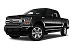 Stock pictures of low aggressive front three quarter view of a 2018 Ford F-150 XLT 4wd SuperCrew 4 Door Pick Up
