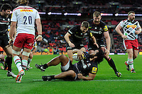 Billy Vunipola of Saracens scores a try just before the final whistle