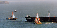 Pictured: The Sea Empress off Milford Haven, west Wales<br /> Re: The Sea Empress oil spill occurred at the entrance to the Milford Haven Waterway in Pembrokeshire, Wales on 15th February 1996 which was followed up by a clean up operation has begun