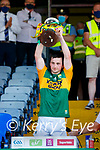 Kerry captain Paul Murphy, Kerry, lifts the Munster cup after the Munster GAA Football Senior Championship Final match between Kerry and Cork at Fitzgerald Stadium in Killarney on Sunday.