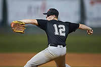Concord A's relief pitcher Evan Pawlowski (12) (Coker) in action against the Mooresville Spinners at Moor Park on July 31, 2020 in Mooresville, NC. The Spinners defeated the Athletics 6-3 in a game called after 6 innings due to rain. (Brian Westerholt/Four Seam Images)