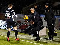 2nd February 2021; St Mirren Park, Paisley, Renfrewshire, Scotland; Scottish Premiership Football, St Mirren versus Hibernian; St Mirren manager Jim Goodwin in a hurry to get the ball back in play