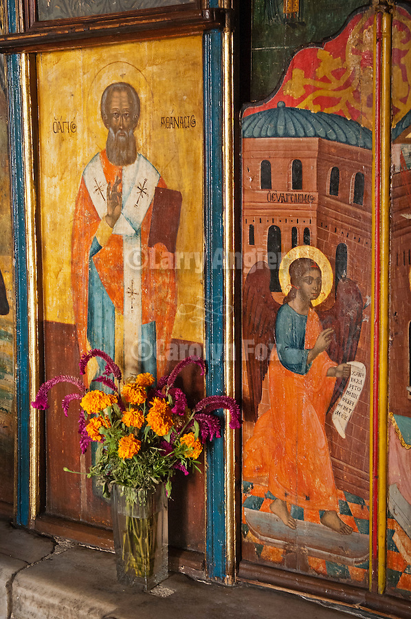 Interior of small Greek Orthodox chapel, Agios Taxiarchis (Archangels Michael or Gabriel), Naoussa, Greece.