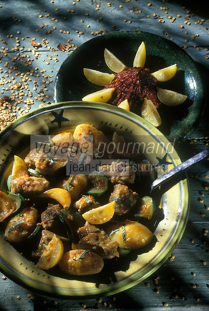 Cuisine/Gastronomie Generale: Agneau à la saveur de harissa et aux citrons confits