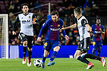Lionel Messi of FC Barcelona (C) in action against Daniel Parejo Munoz of Valencia CF (L) during the Copa Del Rey 2017-18 match between FC Barcelona and Valencia CF at Camp Nou Stadium on 01 February 2018 in Barcelona, Spain. Photo by Vicens Gimenez / Power Sport Images