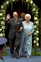 Singer Celine Dion parents exit the Notre Dame Basilica after their grand  son ;   Rene Charles baptism, July 25th 2001 in Montreal, CANADA.