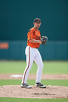 GCL Orioles relief pitcher Ryan Wilson (55) gets ready to deliver a pitch during a game against the GCL Rays on July 21, 2017 at Ed Smith Stadium in Sarasota, Florida.  GCL Orioles defeated the GCL Rays 9-0.  (Mike Janes/Four Seam Images)