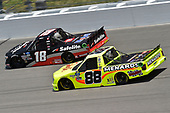#18: Christian Eckes, Kyle Busch Motorsports, Safelite AutoGlass Toyota Tundra, #88: Matt Crafton, ThorSport Racing, Menards Ford F-150