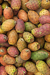 Prickly pears  Opuntia ficus-indica  ready to buy in a market stall France.