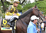 Atigun, ridden by Mike Smith, runs in the TVG Jockey Club Gold Cup Invitational Stakes (GI) at Belmont Park in Elmont, New York on September 29, 2012.  (Bob Mayberger/Eclipse Sportswire)