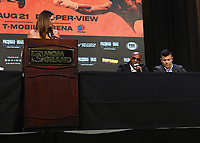 LAS VEGAS, NV - AUG 18: Heidi Androl and Yordenis Ugas at a press conference at the MGM Grand Garden Arena on August 18, 2021 for their upcoming Fox Sports PBC pay-per-view fight in Las Vegas, Nevada. Pacquiao vs Ugas pay-per-view will be on August 21 at T-Mobile Arena in Las Vegas. (Photo by Scott Kirkland/Fox Sports/PictureGroup)