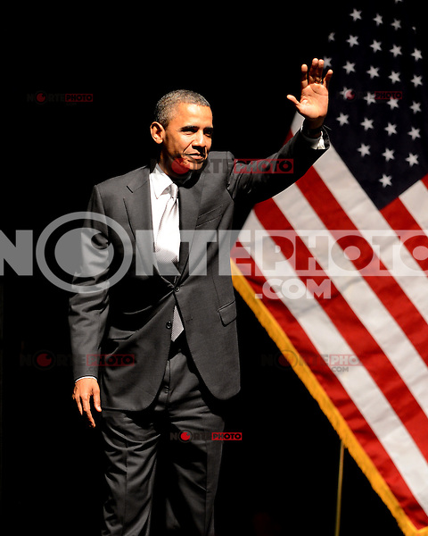 MIAMI BEACH, FL - JUNE 26: US President Barack Obama speaks during a fundraiser hosted by Marc Anthony at the Fillmore Miami Beach on June 16, 2012 in Miami Beach, Florida. © mpi04/MediaPunch Inc.. /**NORTEPHOTO:COM**<br />