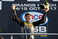 Josh Brookes of Anvil Hire Tag Racing drinks Champagne from his boot on the podium after he wins the Final of the MCE British Superbikes in Association with Pirelli round 12 2017 - BRANDS HATCH (GP) at Brands Hatch, Longfield, England on 15 October 2017. Photo by Alan  Stanford / PRiME Media Images.