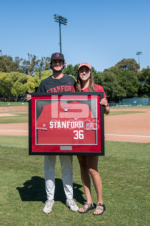 STANFORD, CA - MAY 29: Jonathan Worley and family after a game between Oregon State University and Stanford Baseball at Sunken Diamond on May 29, 2021 in Stanford, California.