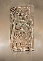 Pictures & images of the North Gate Hittite sculpture stele depicting a women breast feeding a child. 8the century BC.  Karatepe Aslantas Open-Air Museum (Karatepe-Aslantaş Açık Hava Müzesi), Osmaniye Province, Turkey. Against art background