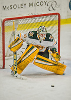20 February 2016: University of Vermont Catamount Goaltender Packy Munson, a Freshman from Hugo, MN, keeps his eye on the puck in the third period against the Boston College Eagles at Gutterson Fieldhouse in Burlington, Vermont. The Eagles defeated the Catamounts 4-1 in the second game of their weekend series. Mandatory Credit: Ed Wolfstein Photo *** RAW (NEF) Image File Available ***